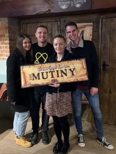 Jo, Alex, April and Marcus at the Escape Room
